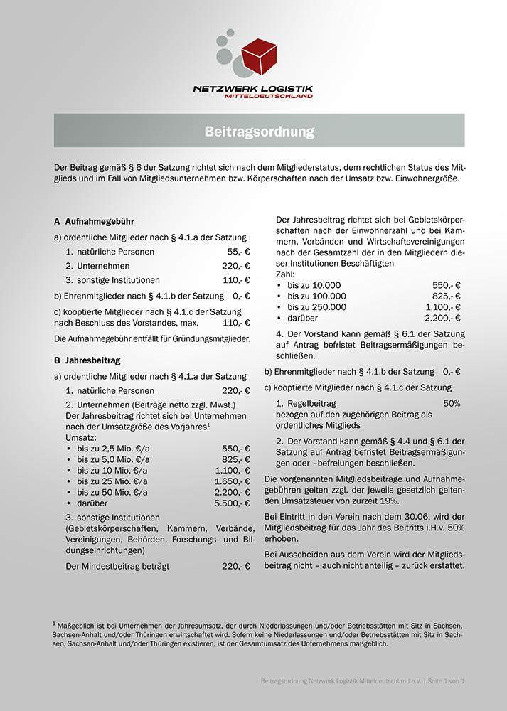 Beitragsordnung Netzwerk Logistik Leipzig-Halle e. V.