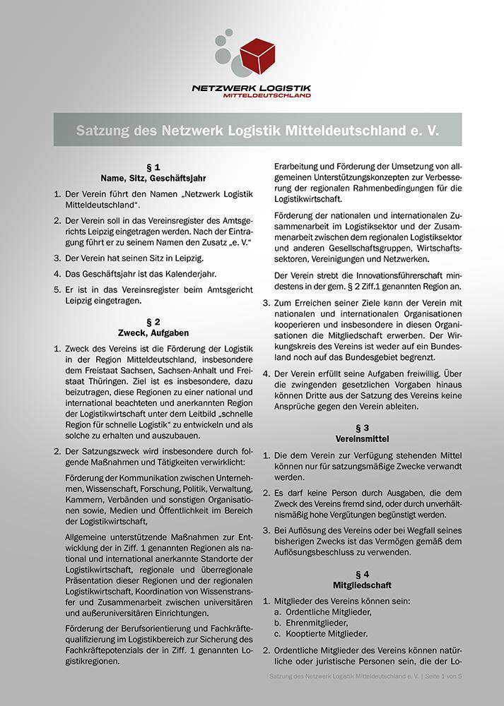 Satzung Netzwerk Logistik Leipzig-Halle e. V.